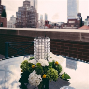 Candle Centerpiece with Hydrangeas and Greenery