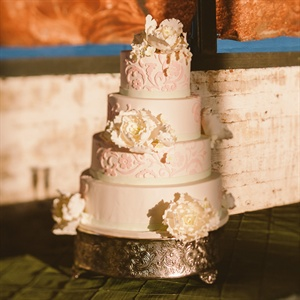 Four Tier Wedding Cake with Pink Damask Print