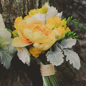 Bright Yellow Peony Bouquet With Dusty Miller