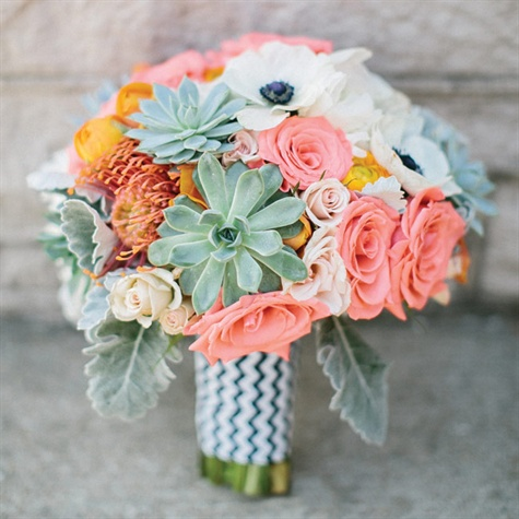 Mint Green and Coral Bridal Bouquet