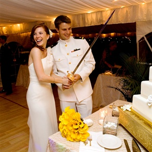 Navy Sword Cake Cutting