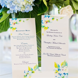 Floral Ceremony Program and Reception Menu