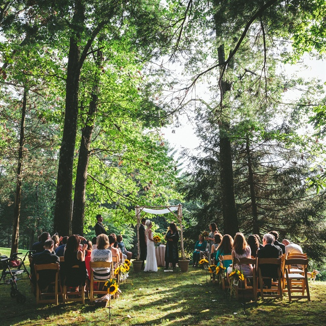 Marilyn and Mark tied the knot in an intimate woodland setting on a private estate.