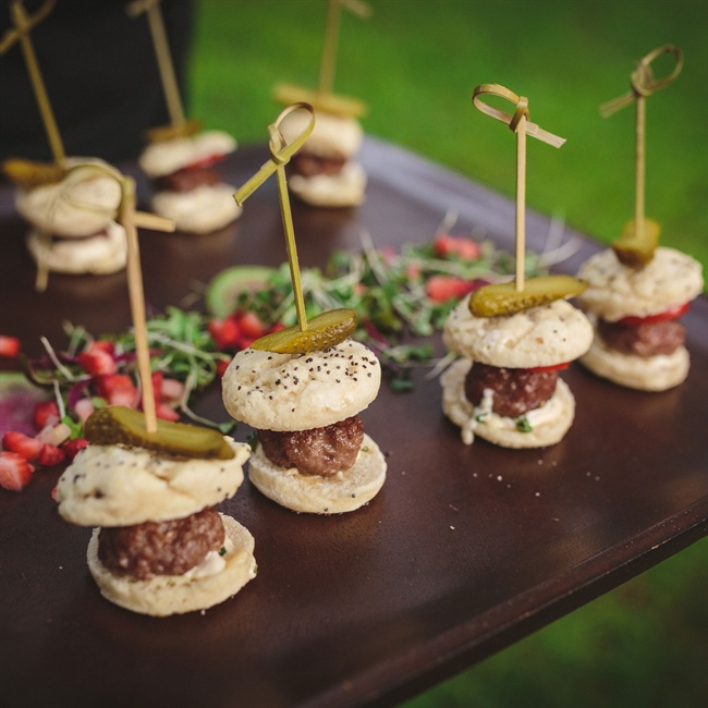 Beef sliders were served to guests as appetizers during the reception.