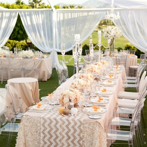 Peach Hued Reception Decor