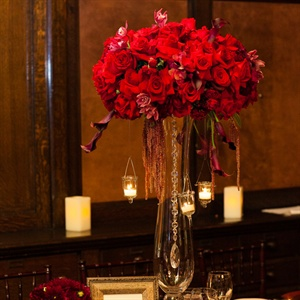 Tall Red Reception Centerpiece