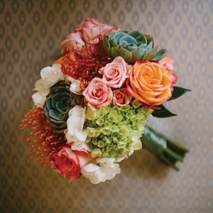 Orange and Green Bridesmaid Bouquet