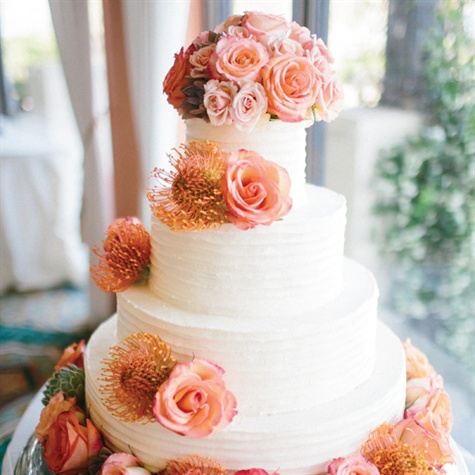 Ridged and Cascading Flowers Cake