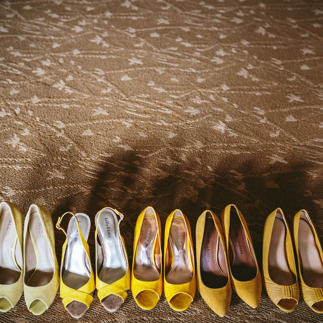 Tracey's bridesmaids chose their own shoes in various yellow hues.