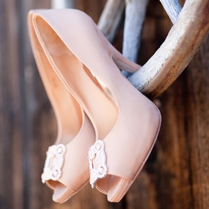 Blush Peep Toe Bridal Shoes