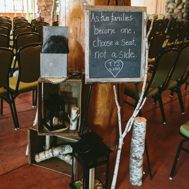 The bride and groom asked family and friends to choose a seat, not a side at their ceremony.