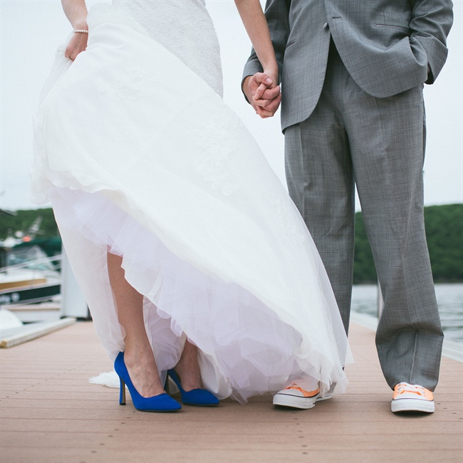 "The bride wore blue pumps for her ""something blue"" accessory."