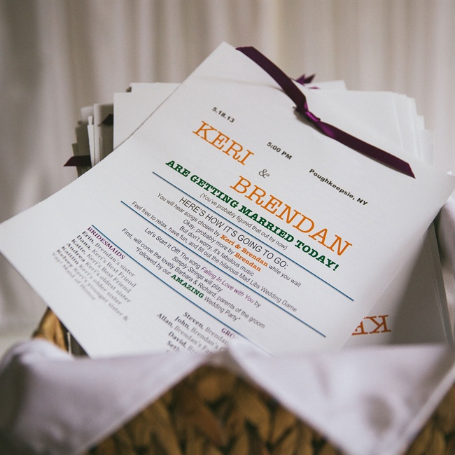 Guests had fun before the ceremony with mad lib wedding programs.