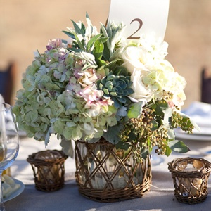 Hydrangea and Succulent Centerpieces