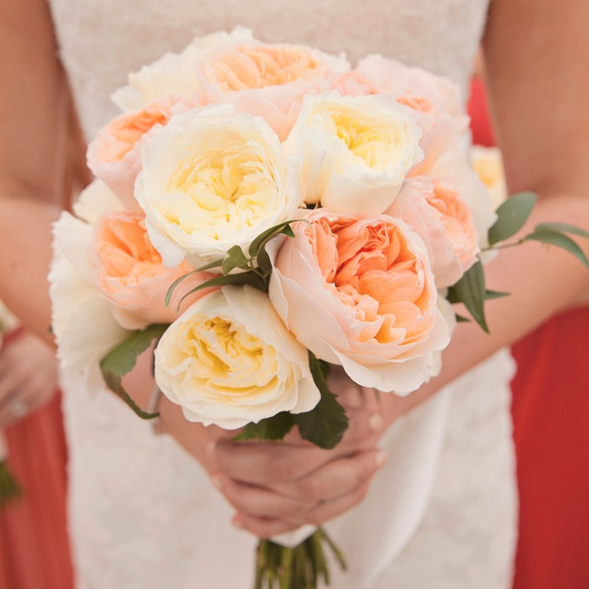 Pale pink and ivory peonies made up Andrea's bridal bouquet.