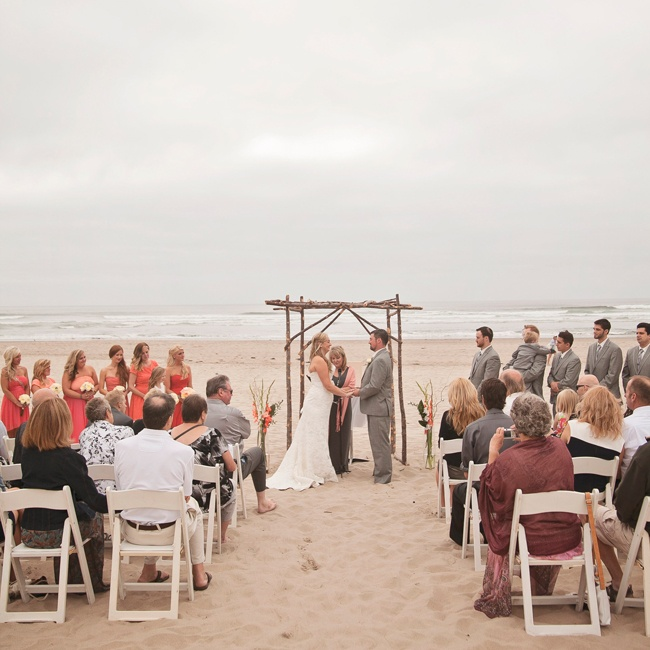 Andrea and Colin exchanged vows in a barefoot beachfront wedding with rustic elements in Cannon Beach, OR.