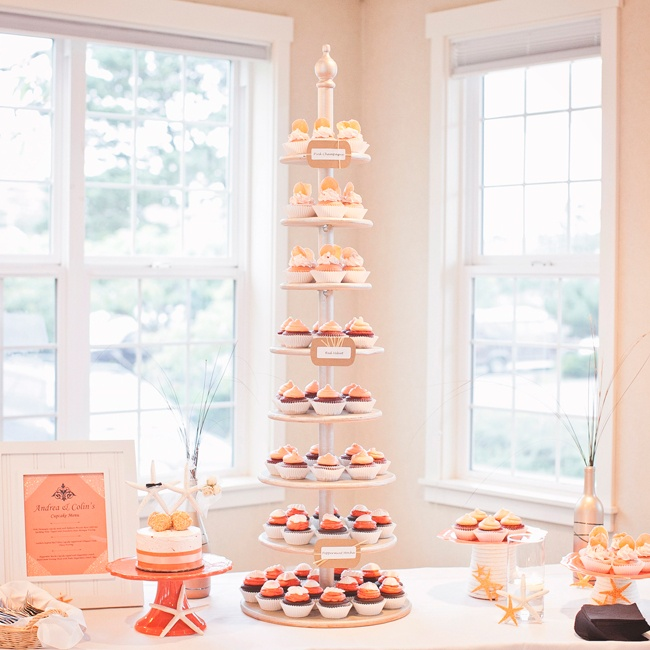 Andrea and Colin's dessert table employed their coral color palette in an ombre effect cupcake stand.
