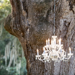Chic Chandelier in Outdoor Garden