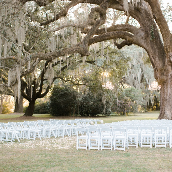 The old tree served as a backdrop and a canopy for the ceremony as well as a focal design point.