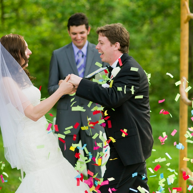 The couple shared their first moments as newlyweds with their guests and a confetti celebration.