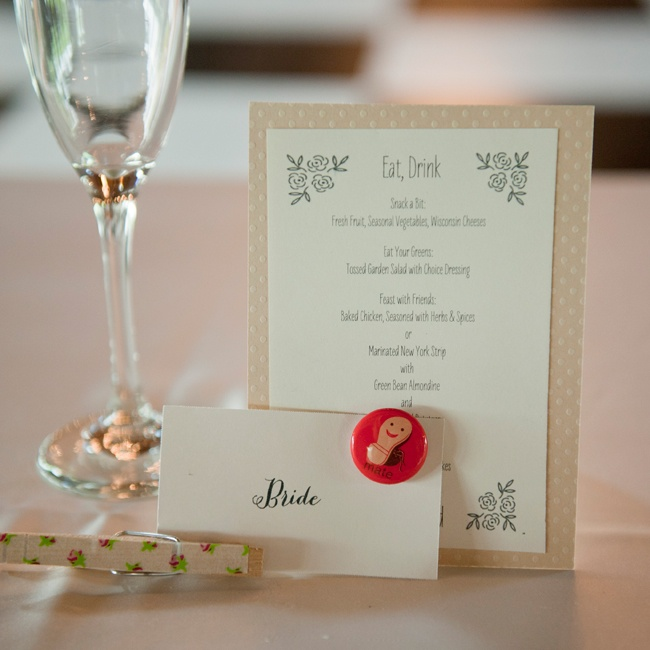 The bride created her own menu cards as well as her escort cards which were hung with custom clothespins.