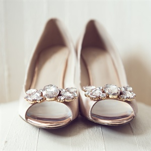 Gem Adorned Peep Toe Bridal Shoes