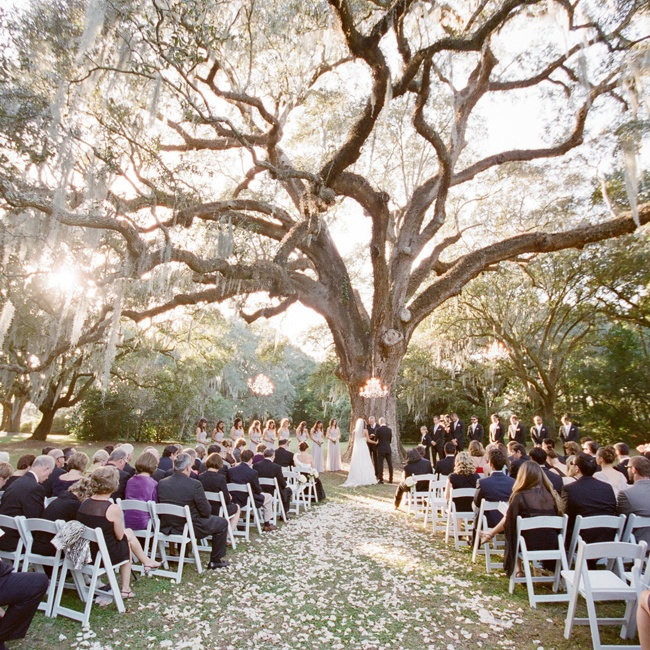 "The couple exchanged vows beneath a large oak tree dubbed ""The Wedding Tree."""