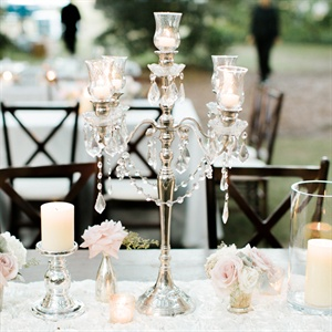 Crystal and Silver Candelabra Centerpiece
