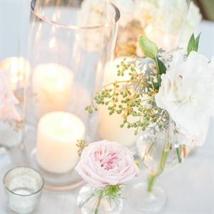 Candle Centerpieces with Peonies