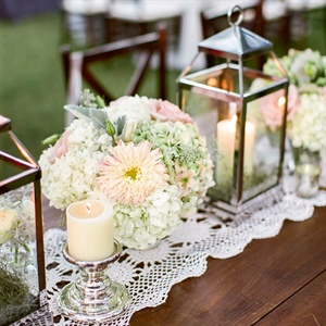 Candle Lantern Centerpieces with Flowers