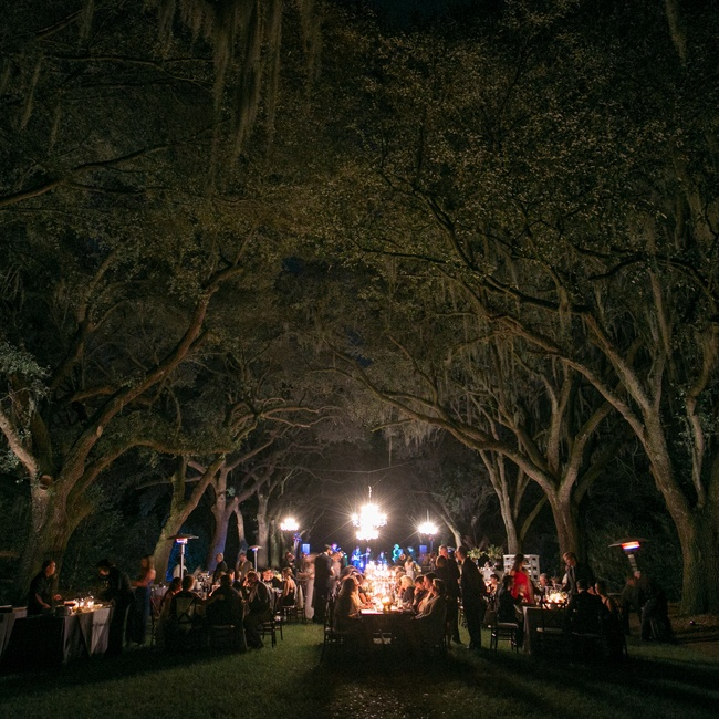The reception was held between two rows of old oak trees at Legare Waring House in Charleston, SC.
