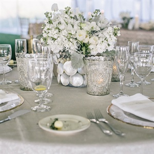 White Centerpiece in a Seashell Vase