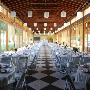Rustic Reception Site with Checkerboard Floor