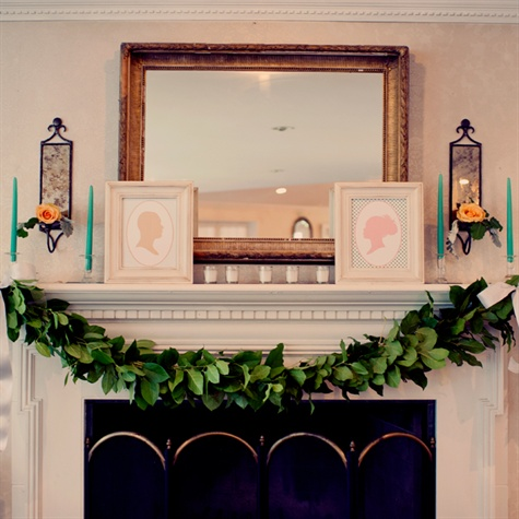 Vintage Silhouette and Garland Reception Decor