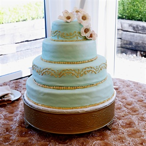 Light Blue and Gold Cake with Sugar Flowers