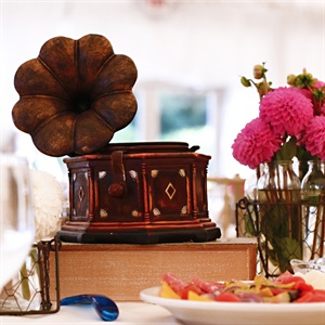 Vintage Phonograph and Dahlia Centerpiece