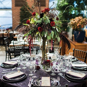 Purple and Red Reception Table Decor