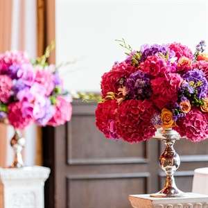 Bright Pink and Purple Ceremony Arrangements