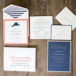 Navy Blue and Coral Invitations