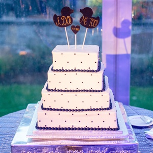 Purple Polka Dotted Wedding Cake