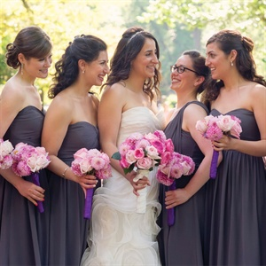 Purple, Grecian-Style Bridesmaid Dresses