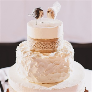 Wedding Cake with Burlap and Lace