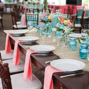 Burlap Table Runner and Coral Napkins