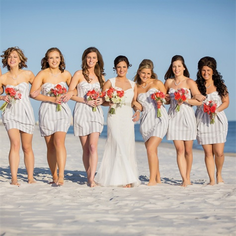 Beachy Striped Bridesmaid Dresses