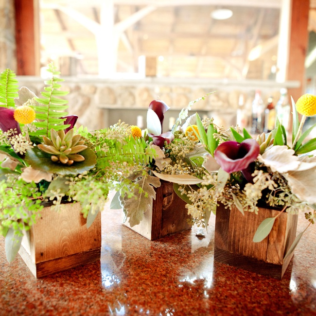 Succulent and purple calla lily table arrangements accentuate the rustic vibe with wood vases.