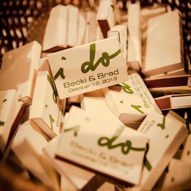 "Guests were treated to ""I Do"" themed boxes of matches."