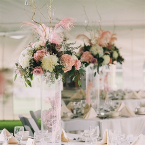 Hydrangea and Feather Centerpieces