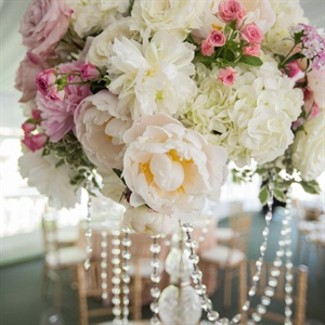 Peony and Crystal Centerpieces
