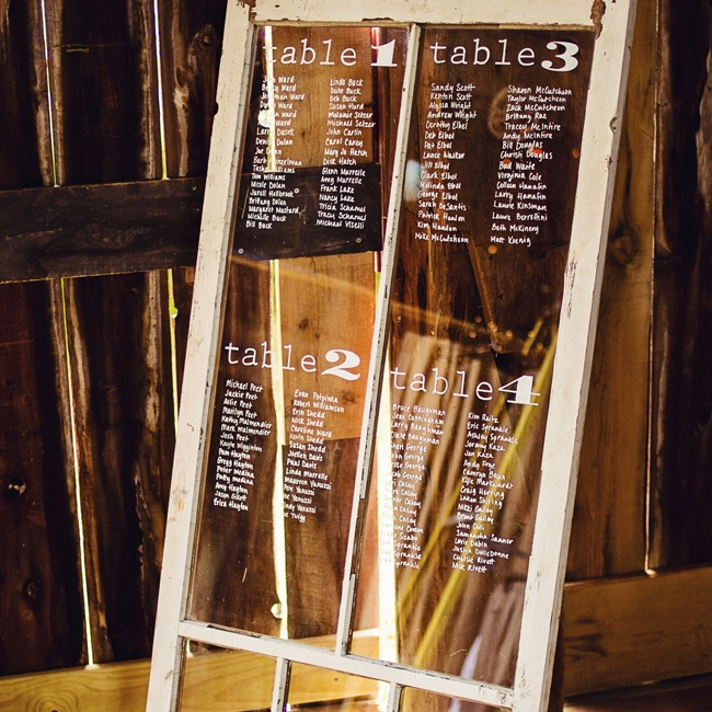 The bride used a distressed window pane to create a unique display for the seating assignments.