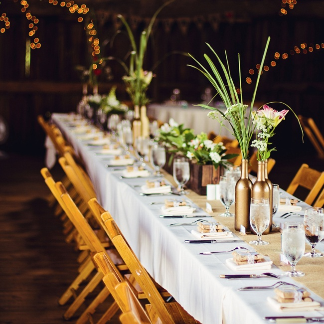 Danielle and Bryan chose to seat guests at long farm tables to match the rustic setting.